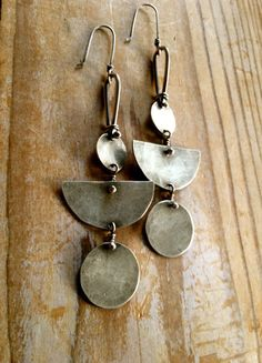 Nomad Earrings Sterling Silver Hammered Disc by sierrakeylin, $72.00