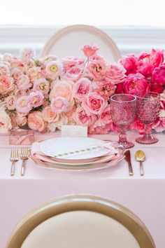 Pink ombre watercolor tablescape with floral runner Diy Wedding Decorations, Wedding Centerpieces, Wedding Table, Pink Table Decorations, Shower Centerpieces, Wedding Color Schemes, Wedding Colors, Colour Schemes, Pink Table Settings