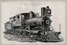 1889 Large Antique Engineering Drawing - The Strong Locomotive A. Darwin - Two-page Technical Illustration Train Tattoo, Train Drawing, Technical Illustration, Train Art, Old Trains, Train Pictures, Steam Locomotive, Vintage Maps, Old West