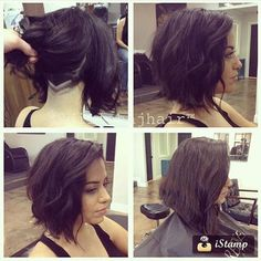 Long Wavy Bob With Shaved Nape Undercut By @dillahajhair #UCFeed #Undercut…