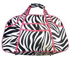 Zebra Print Overnight Bag With Pink Trim | ChickSaddlery.com