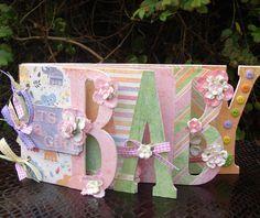 Scrapbook Album,   Handmade Mini Album,  Baby Srapbook album, Baby Word Album, Layered Chipboard Album. $45.00, via Etsy.