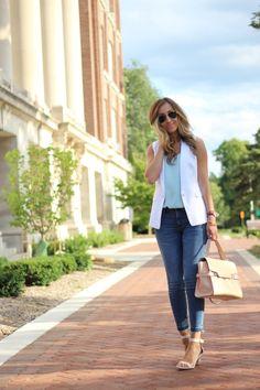 casual Friday - the white vest/sleeveless blazer