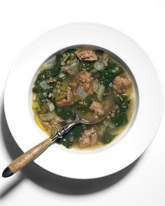 Dinner tonight: Sausage, Lentil, & Kale Soup from Martha Stewart. So delicious and so good for you!