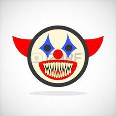 creepy: Creepy clown. Evil scary halloween monster, joker character. Isolated vector illustration