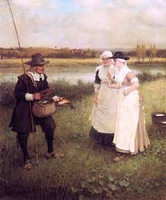 Isaac Walton and the Milkmaids (George Henry Boughton - )
