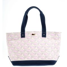 Vineyard Whale Deck Tote ($148) ❤ liked on Polyvore featuring bags, handbags, tote bags, purses, pattern tote bag, tote hand bags, tote bag purse, purse tote and pink tote handbags