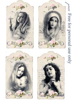 Vintage tags Digital collage P1022 Free for personal use <3