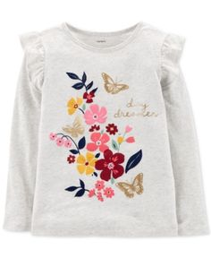 Carter's Little & Big Girls Graphic-Print Cotton T-Shirt - Gray 7 Kids Girls Tops, Girls 4, Shirts For Girls, Girls Wear, Carter Kids, Kids Patterns, Embroidery Fashion, Kids Prints, Cute Outfits For Kids