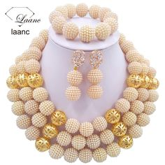 Find More Jewelry Sets Information about laanc Classic Gold Plastic Pearl nigerian wedding african beads jewelry set  crystal Gold Finding C2507,High Quality jewelry cocktail,China jewelry neck Suppliers, Cheap jewelry tent from Alisa's Jewelry DIY Store on Aliexpress.com