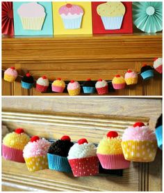Cupcakes de pompom para décor de festa infantil