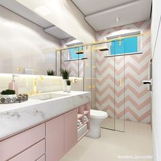 Marbled is combined with Millennial Pink in this ultra feminine bathroom to create a sanctuary House Design, Bathroom Kids, Feminine Bathroom, House Bathroom, Bathroom Interior Design, Interior, Home Decor, House Interior, Girl Bedroom Decor