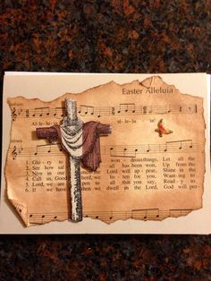 Handmade Easter card/cross/religious/vintage song book