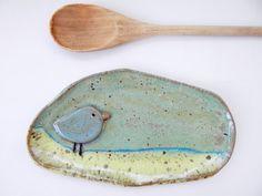 Sweet Whimsical Blue Bird Soap Dish  Ceramic by ShoeHouseStudio