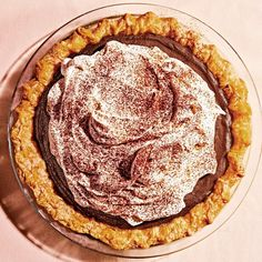 A dazzling chocolate pudding pie cloaked in voluminous whipped cream. The secret to that whipped cream's great height: Setting it with dissolved gelatin means it won't deflate or weep when chilled. Cheesecakes, Chocolate Pie With Pudding, Chocolate Desserts, Chocolate Cream, Pudding Pies, Pudding Cake, Pie Recipes, Dessert Recipes, Party Desserts
