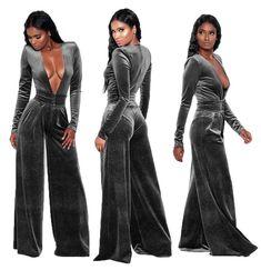 21e9c7a6deee Adogirl 2017 Sexy Long Sleeve Women Deep V Neck Jumpsuit velvet Satin Romper  Long Pant Fashion