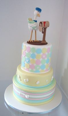 #Pastel stork baby shower #cake by Takes the Cake