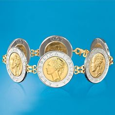 Italian Genuine Coin Bracelet with Yellow Gold. Coin Jewelry, Silver Jewelry, Gold Jewellery, Silver Ring, Gold Coin Ring, Vintage Gold Rings, Gold Bangle Bracelet, Gold Coins, Bracelets