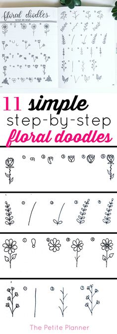 Kunst Zeichnungen - 11 Simple Step-by-Step Floral Doodles to add to your bullet journal Doodle Drawing, Doodle Art, Zen Doodle, Drawing Art, Doodle Fonts, Art Drawings, Organisation Journal, Organization, Floral Drawing