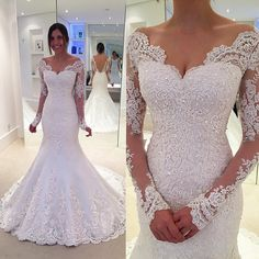 long sleeves lace mermaid wedding dress,v neck with illusion sleeves ,perfect for your wedding 2017