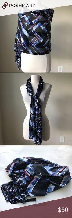 Geo print silk oblong scarf -100% silk -20.5 x 70 inches -Shadow stripe White House Black Market Accessories Scarves & Wraps