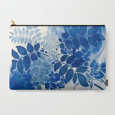 monochrome floral in blue Carry-All Pouch SOLD!thank you!!
