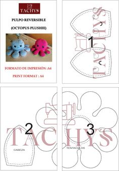 Felt Doll Patterns, Plushie Patterns, Animal Sewing Patterns, Sewing Patterns Free, Sewing Stuffed Animals, Stuffed Toys Patterns, Octopus Plush, Octopus Octopus, Small Sewing Projects