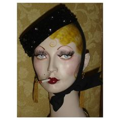 Etsy :: flapperdashery :: Vintage Smoking Boudoir Doll Style Flapper Mannequin Head Wig,Hat, Jewelry Stand Display ($185) found on Polyvore