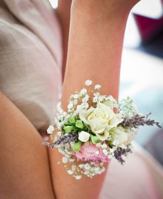 gorgeous wrist corsage would be fabulous with faux flowers too. This wrist corsage was created on ivory ribbon with lavender, gypsophila and spray roses. This is PERFECT, but with only the right colored flowers. Wrist Flowers, Prom Flowers, Bridal Flowers, Flower Bouquet Wedding, Floral Wedding, Boquet, Small Flowers, Summer Flowers, Wrist Corsage Wedding