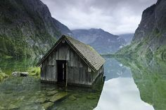 Fishing Hut in Lake of Berchtesgaden National Park. The Park is located in the southeast of Germany, in the Free State of Bavaria.http://www.wonderslist.com/10-truly-beautiful-abandoned-places/