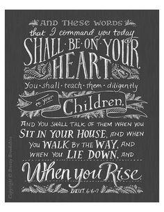 Teach Them Diligently Chalkboard Bible Verse Art by BreezyTulip
