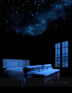 Glow in the Dark Moon and Shooting Stars - Glow in the Dark Shop | Stella Murals