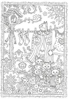 Coloring Pages For Grown Ups, Fall Coloring Pages, Cat Coloring Page, Adult Coloring Pages, Coloring Sheets, Coloring Books, Hidden Pictures, House Drawing, Digi Stamps