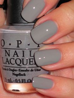 French Quarter For Your Thoughts (On my nails now. Love this color!) I'm an Essie girl but feelin this grey. Trendy Nails, Cute Nails, Milky Nails, Gray Nails, Black Nails, Blue Nail, Opi Nails, Nail Polishes, Shellac