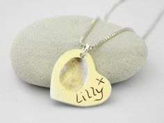 Fingerprint Heart Pendant on a Chain by littleloveprints on Etsy