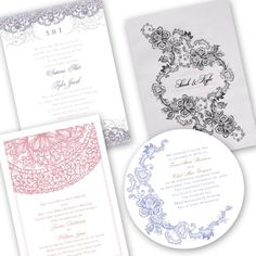 lace wedding invitation details