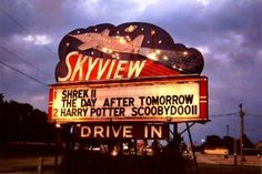 Skyview Drive-In in Belleville, Illinois: Marquee lit up