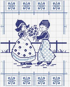 E Dutch Delft Fleurs bleu bateau moulin à vent cross stitch chart