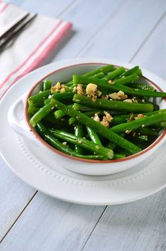 Tender, crisp green beans sauteed with loads of fresh garlic and ginger.