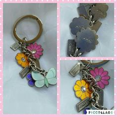 """New listing! Coach key chain/fob nwot Silverstone and enamel 3 flowers and a butterfly  3 Coach tags It's been in a drawer, never used, there is slight tarnishing,  I'm not sure what to clean it with Overall length 4"""" Coach Accessories Key & Card Holders"""