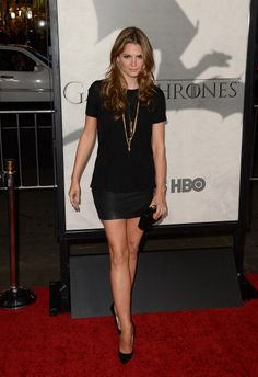 "Stana Katic in Alexander Wang {top} & Alpinestars {skirt} (2013 L.A. premiere of ""Game of Thrones: Season 3"")"