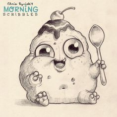 Hi im icecream ♡ Cute Monsters Drawings, Cartoon Monsters, Little Monsters, Cartoon Drawings, Monster Sketch, Doodle Monster, Monster Drawing, Desenho New School, Sweet Drawings