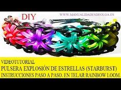 COMO HACER PULSERA ELÁSTICA MODELO EXPLOSIÓN DE ESTRELLAS EN TELAR RAINBOW LOOM TUTORIAL ESPAÑOL DIY