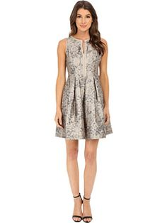 Vince Camuto Split Neck Fit and Flare Dress