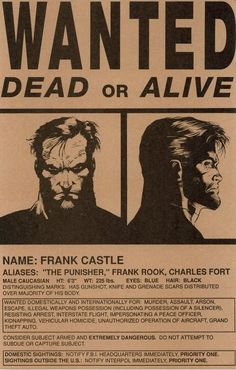 The Punisher- Wanted Dead or Alive poster - The Punisher, Punisher Comics, Punisher Logo, Marvel Vs, Marvel Heroes, Marvel Comics, Captain Marvel, Comic Book Characters, Marvel Characters