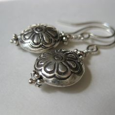 Thai Karen Hill Tribe flower stamped bead sterling silver drop earrings Simple Casual Everyday sterling silver earrings - pinned by pin4etsy.com