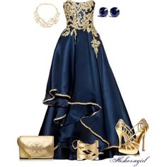 """Gold And Blue"" by hishorsegirl on Polyvore"