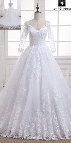 Fabulous Tulle V-neck Neckline Ball Gown Wedding Dress With Lace Appliques & Beadings