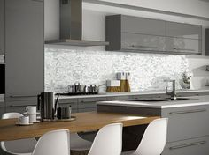 Kitchen wall tiles in grey white mosiac modern design