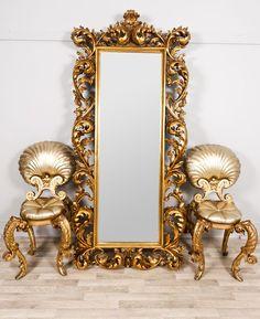 Extra Large Decorative Gold Rococo Rectangular Dress Mirror Full Length- Athena DUE EARLY NOV